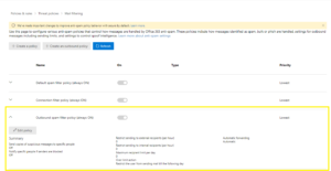 Outbound spam filter policy (always ON)